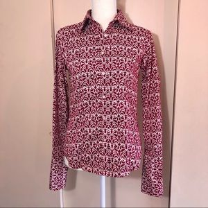 Talbots red & white scroll print button down top